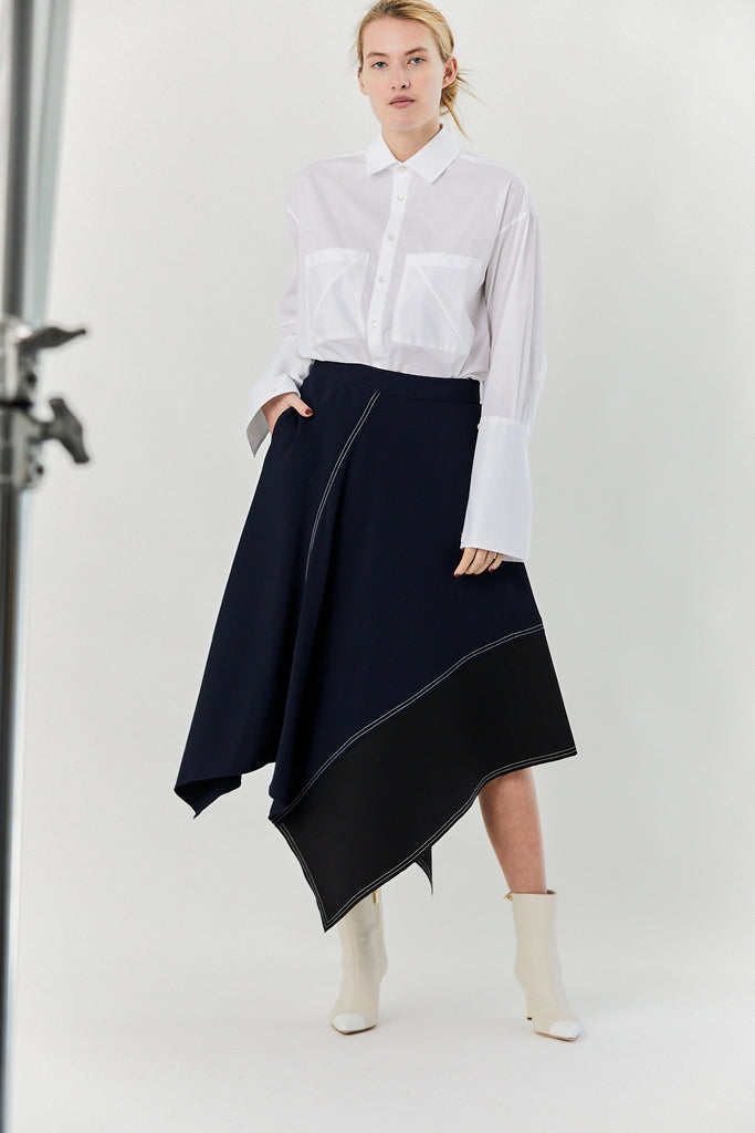 Lorod - Asymmetric Long Skirt, Navy & Black