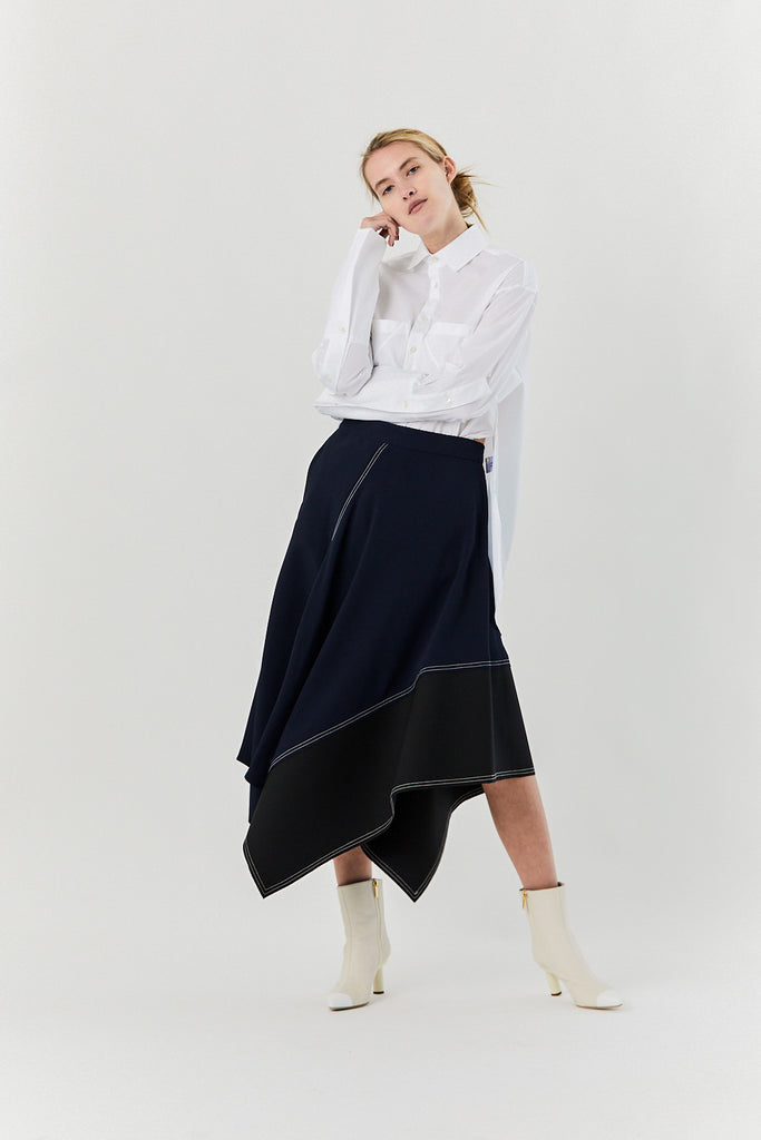 Asymmetric Long Skirt, Navy & Black