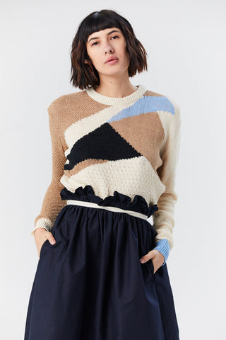 Patchwork Pullover, Sky Blue