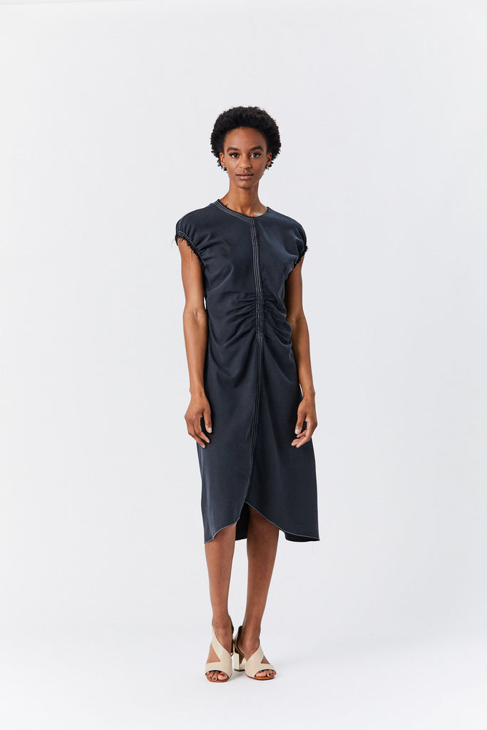 Lorod - Sleeveless Gathered Dress, Black