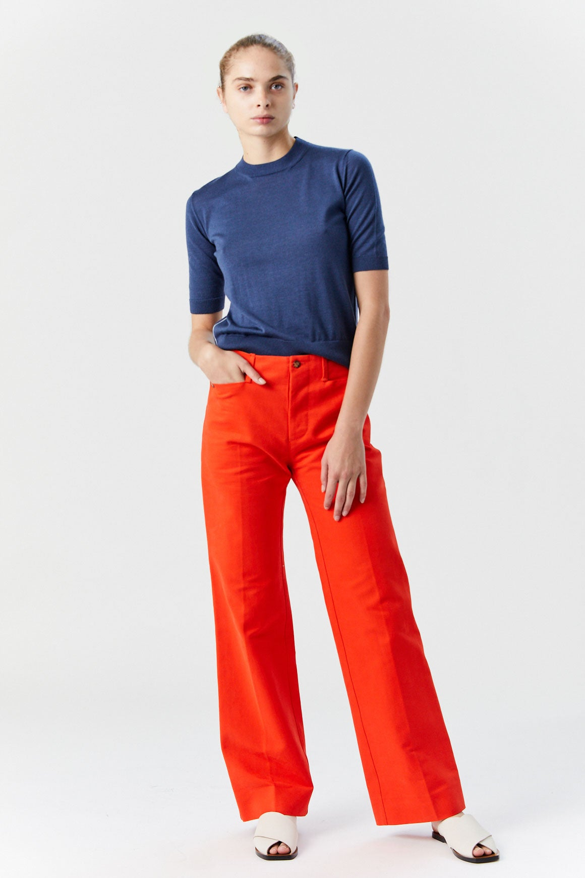 LOROD - Tailored Front Crease Pant, Red