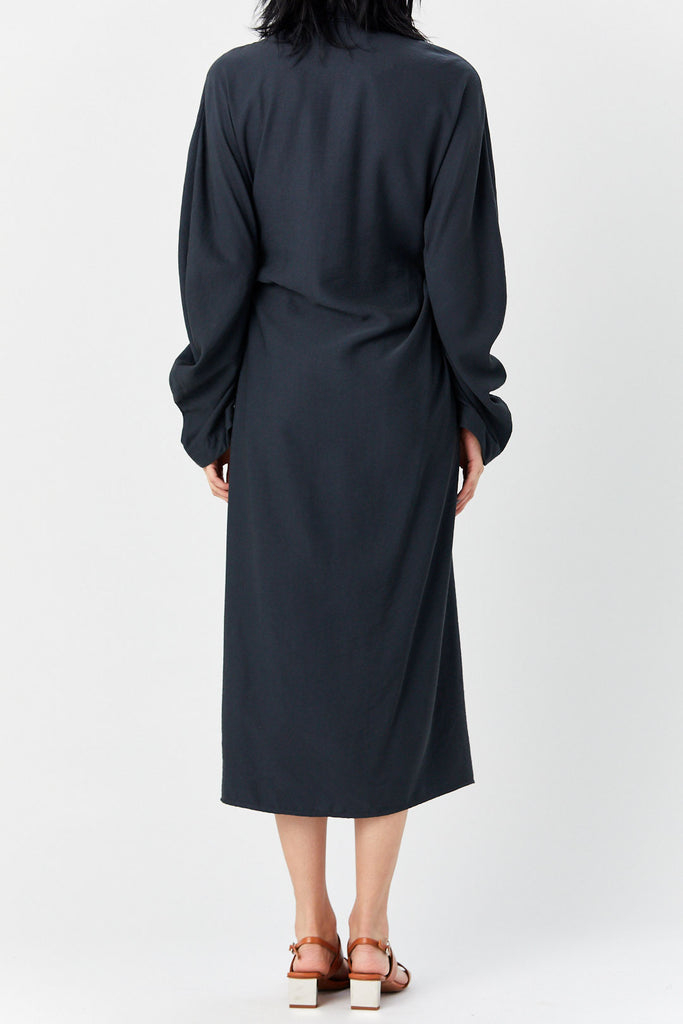 LOROD - Twisted Shirt Dress, Washed Black