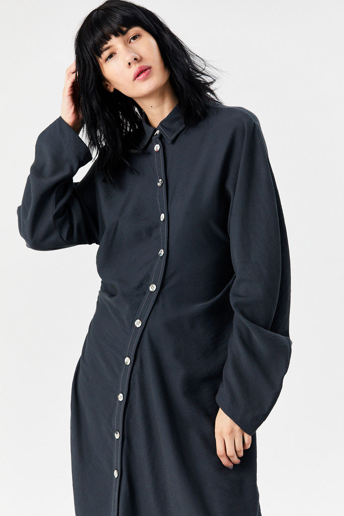 Twisted Shirt Dress, Washed Black
