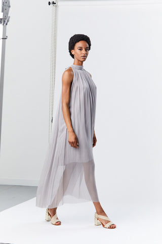 Chiffon Tie Back Dress, Silver