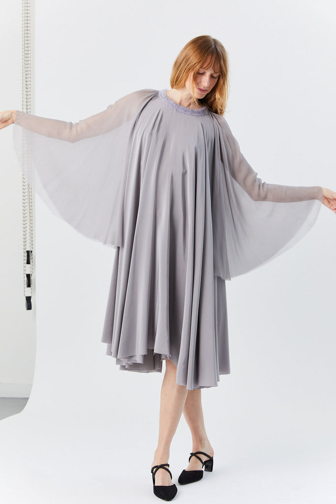 Louiza Babouryan - Sheer Sleeve Dress, Grey