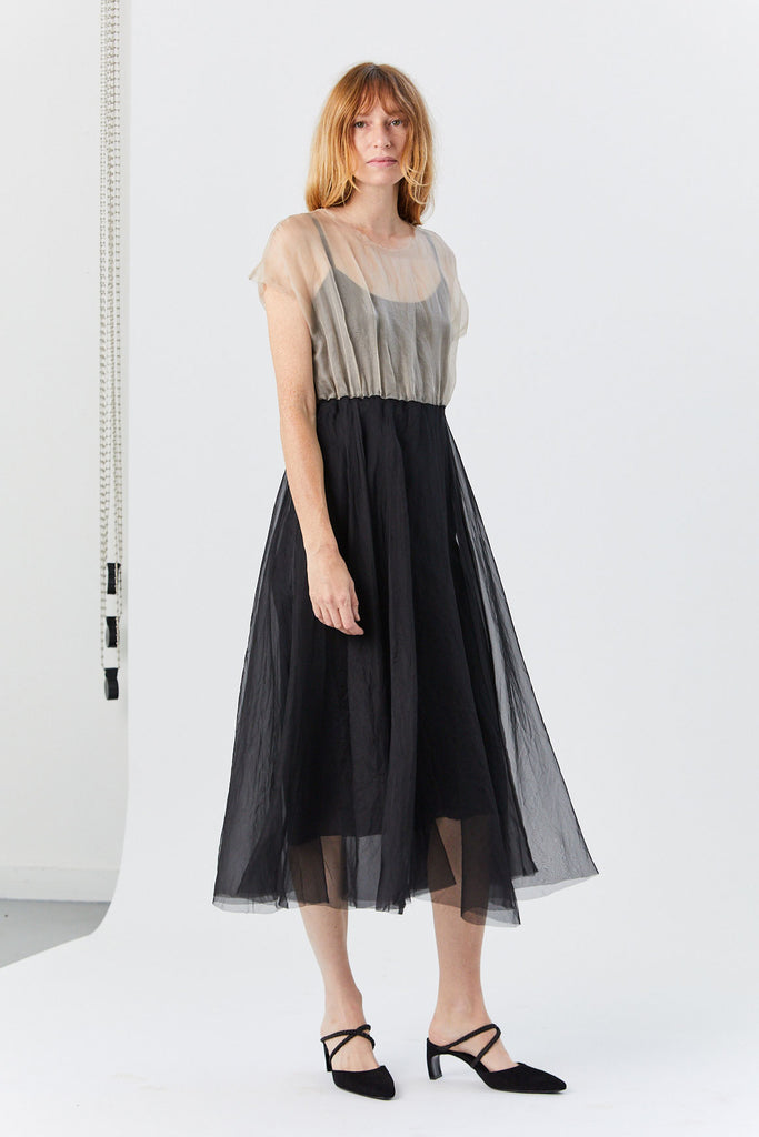 Louiza Babouryan - Two Tone Dress, Black & Nude