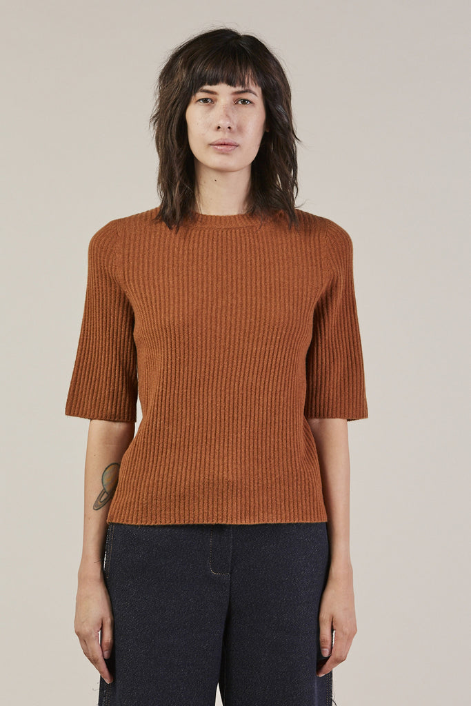Ribbed S/S Mock Top, Brown