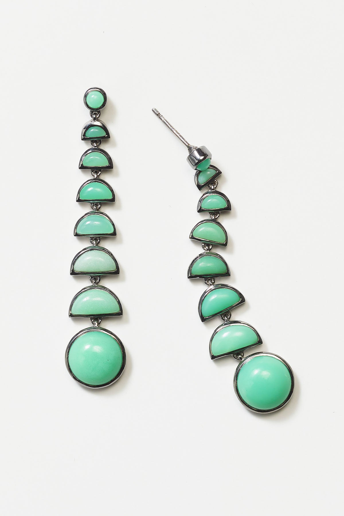 Nakard by Nak Armstrong - ballbearing earrings, chrysoprase