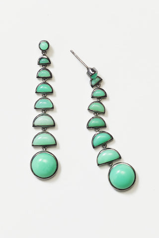 ballbearing earrings, chrysoprase