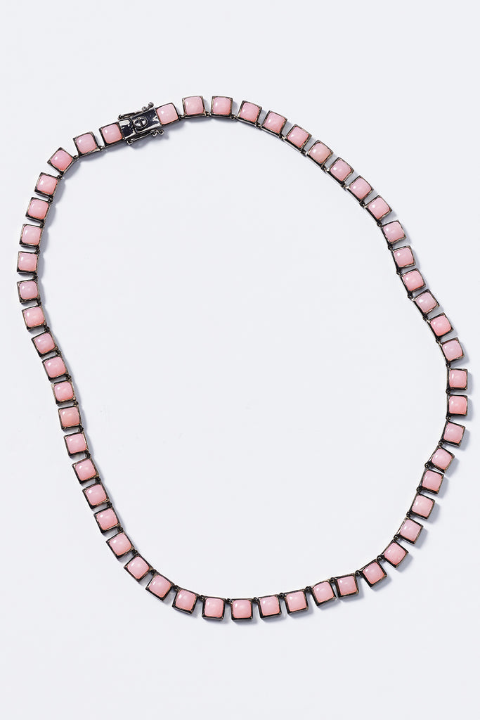 riviere opal tile necklace, pink