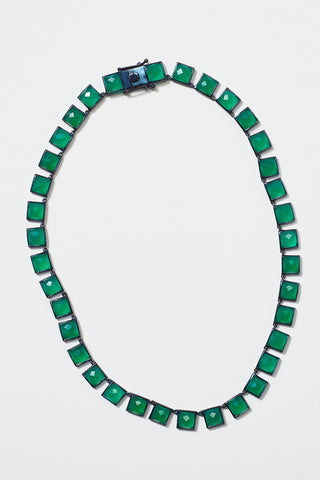 riviere large onyx tile necklace, green