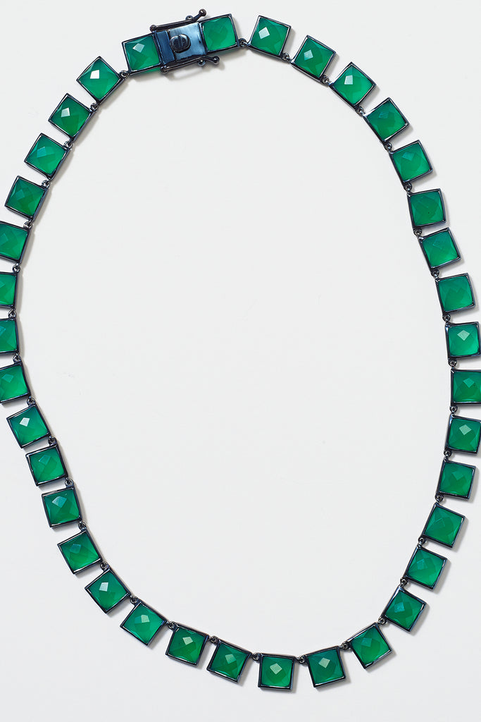 Nakard by Nak Armstrong - riviere large onyx tile necklace, green