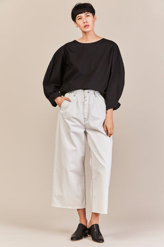 denim pleated pant, off white
