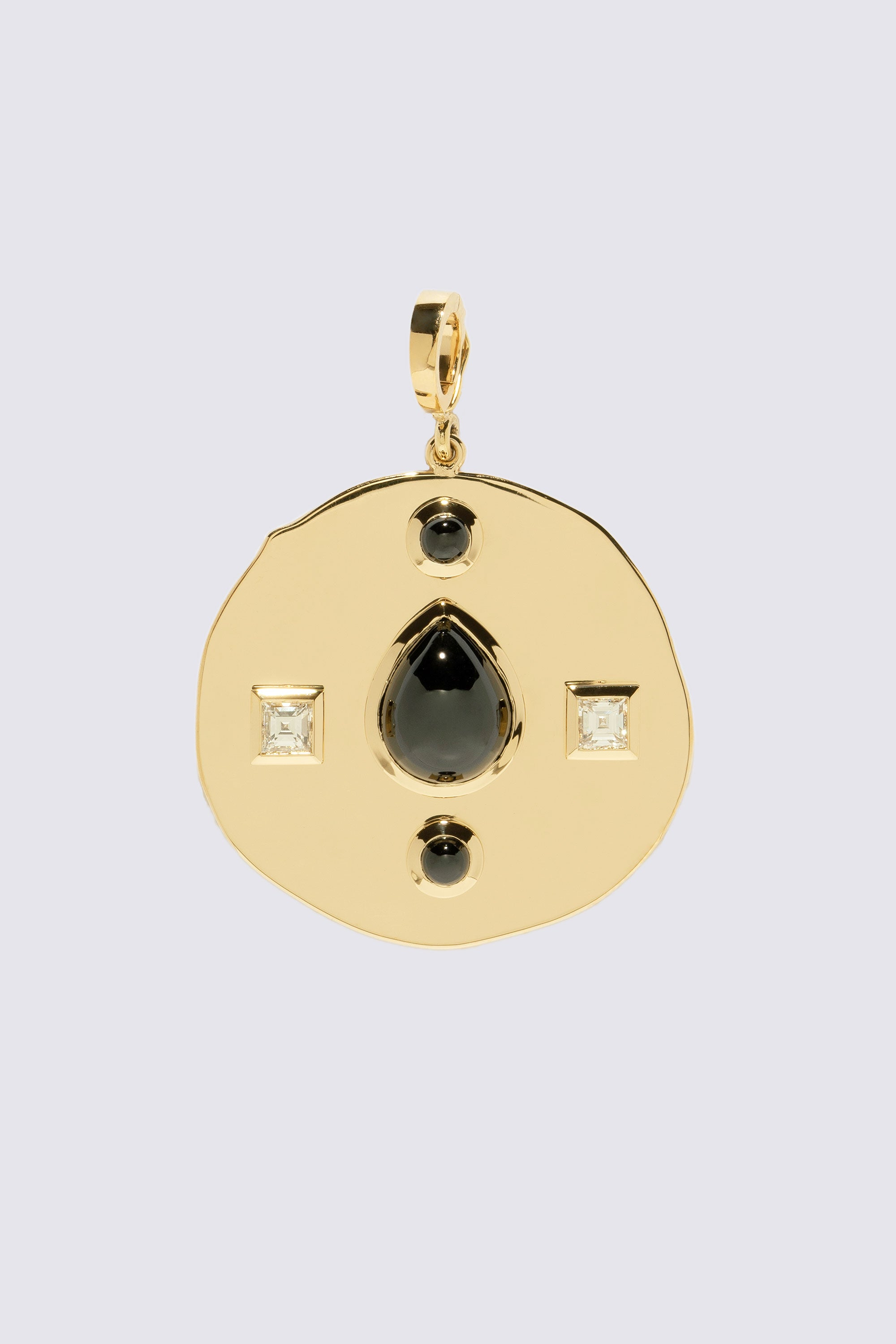 AZLEE - Modern Byzantine Large Coin Charm, Gold