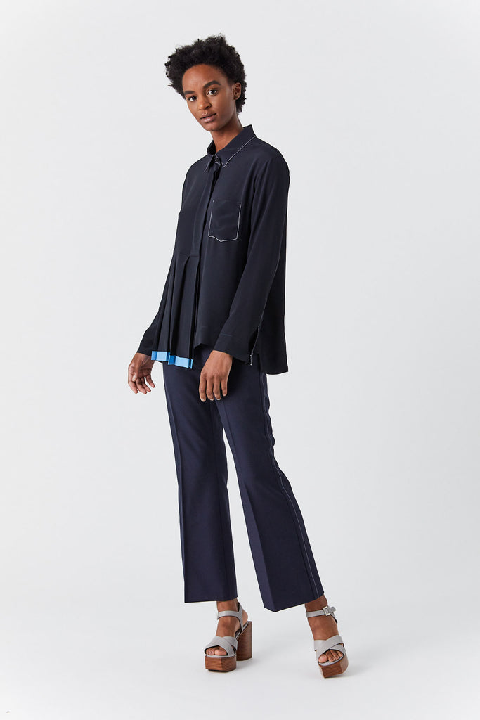 Button Down Pleat Blouse, Blue Black