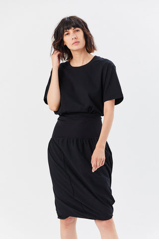 Cotton Jersey Short Sleeve Dress, Black