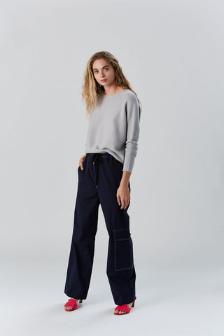 Cotton Poplin Trouser, Navy