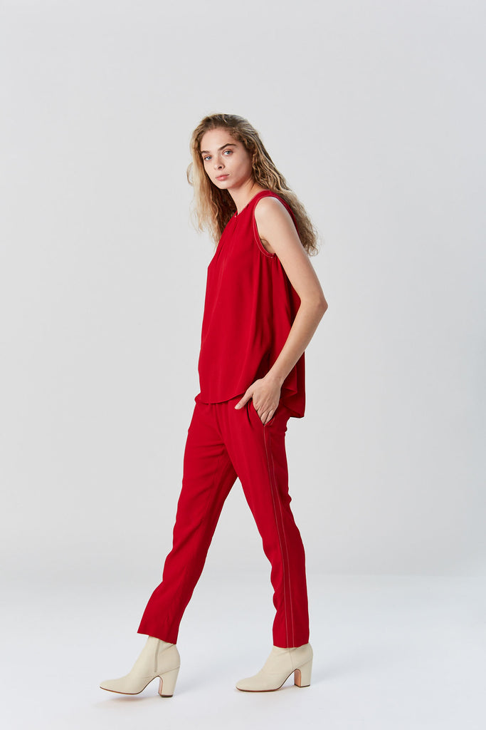 Marni - Crepe Envers Satin Tank, Red