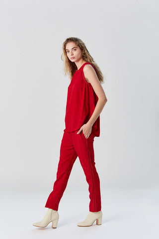 Crepe Envers Satin Tank, Red