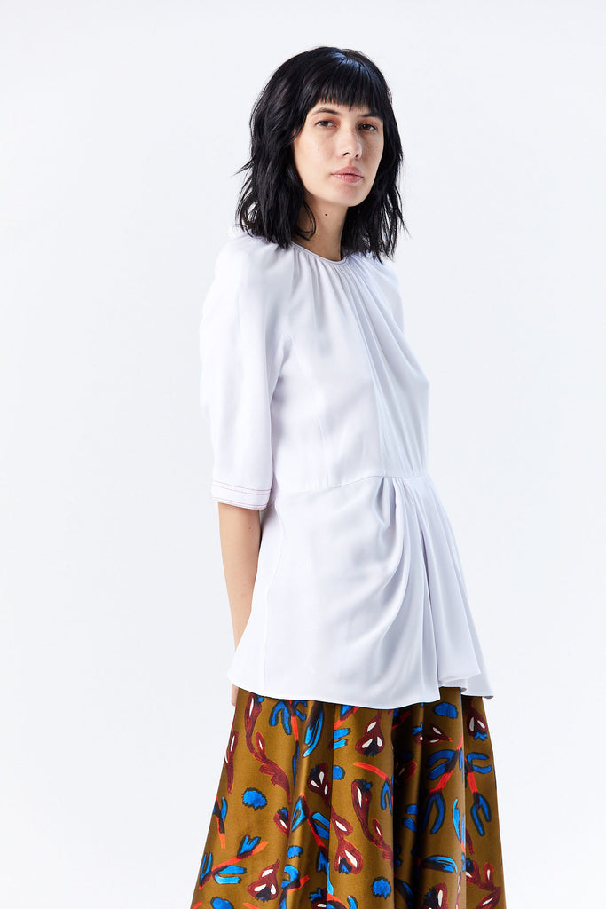 Drape Blouse, White