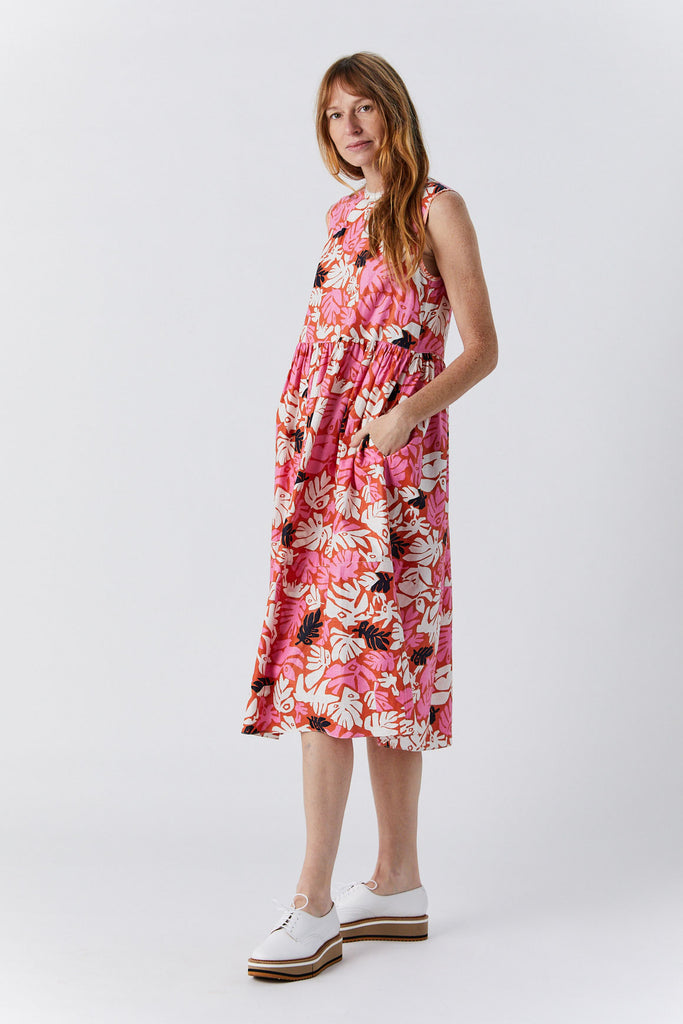 Sleeveless Dress, Flower Print