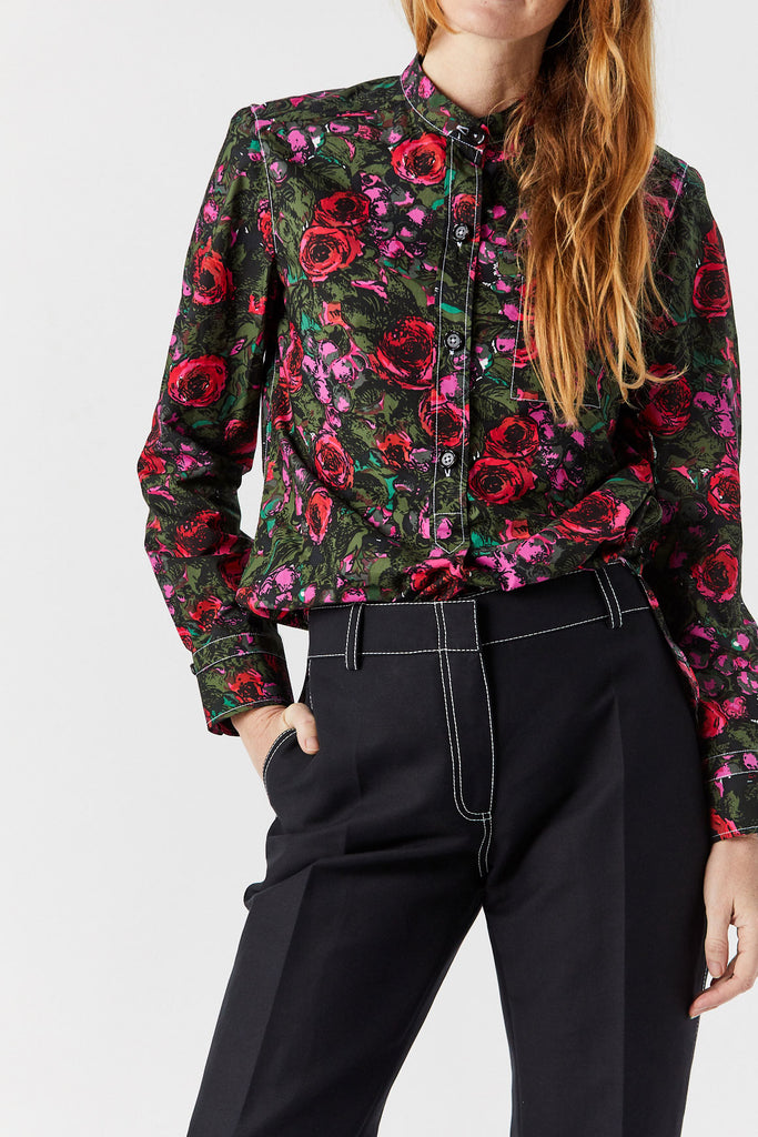 Long Sleeve Top, Floral Print