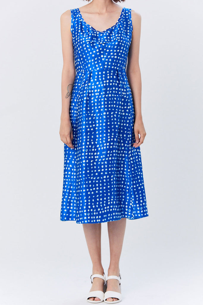 Marni - Sleeveless Polka-Dot Dress, Cobalt