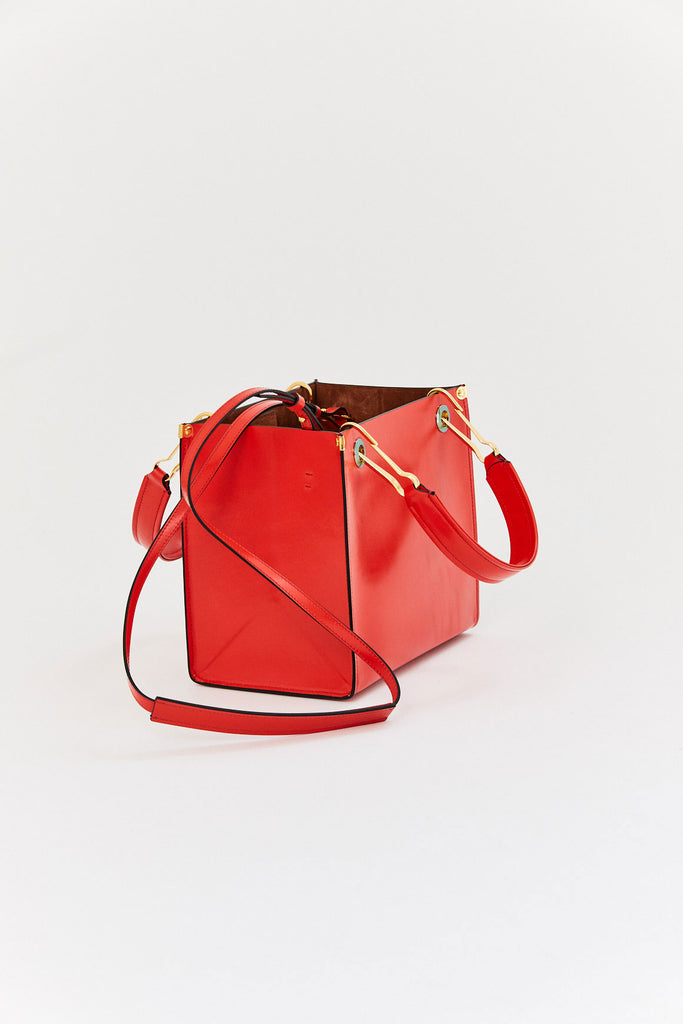 Marni - Squared Snap Link Grip Bag, Red