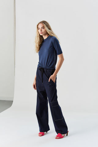 Short Sleeve Wool-Silk Sweater, Navy