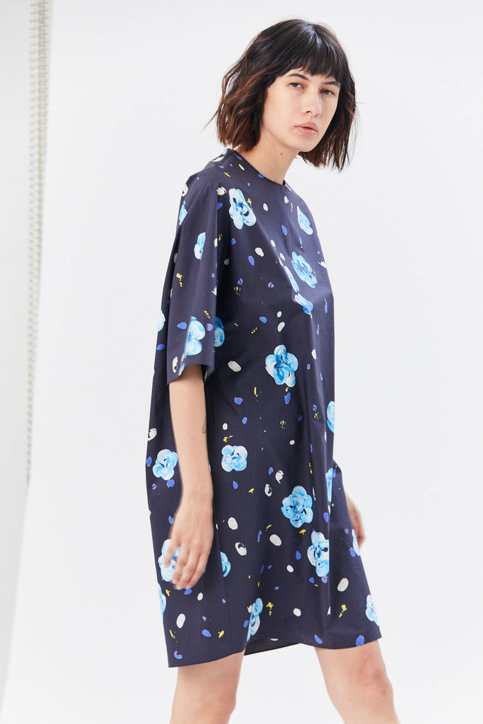 Short Sleeve Dress, Black & Blue