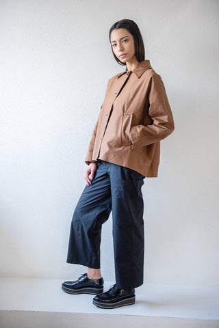 cotton linen drill jacket, tobacco
