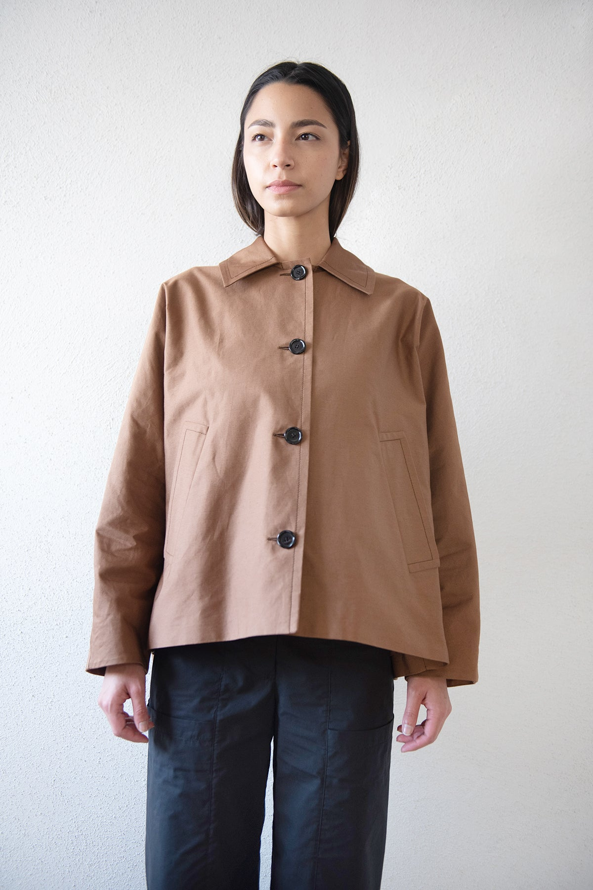 MARNI - cotton linen drill jacket, tobacco