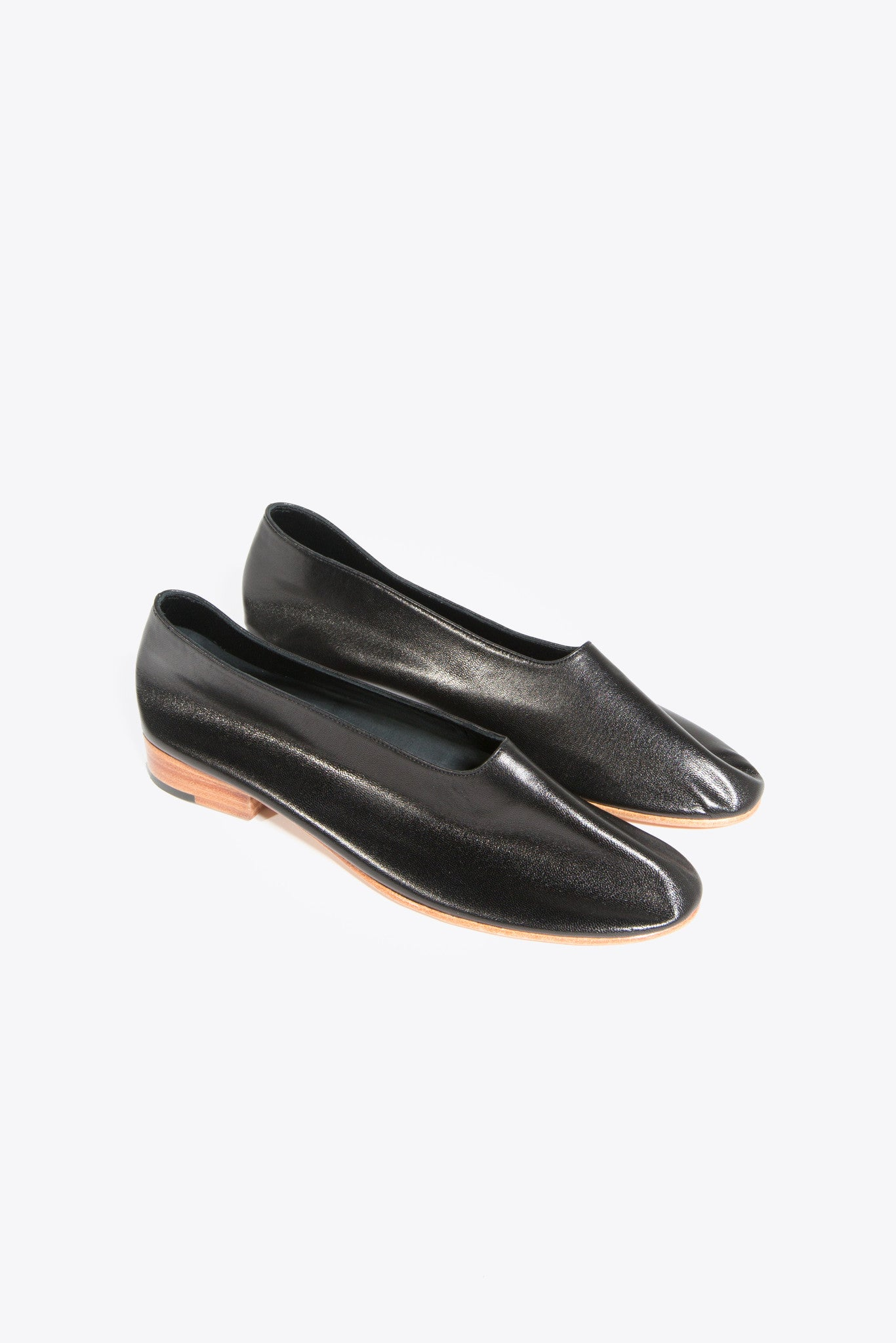 Leather Glove Flats, Black by Martiniano @ Kick Pleat - 1