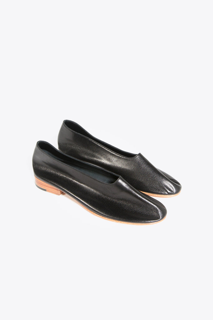 Leather Glove Flats, Black