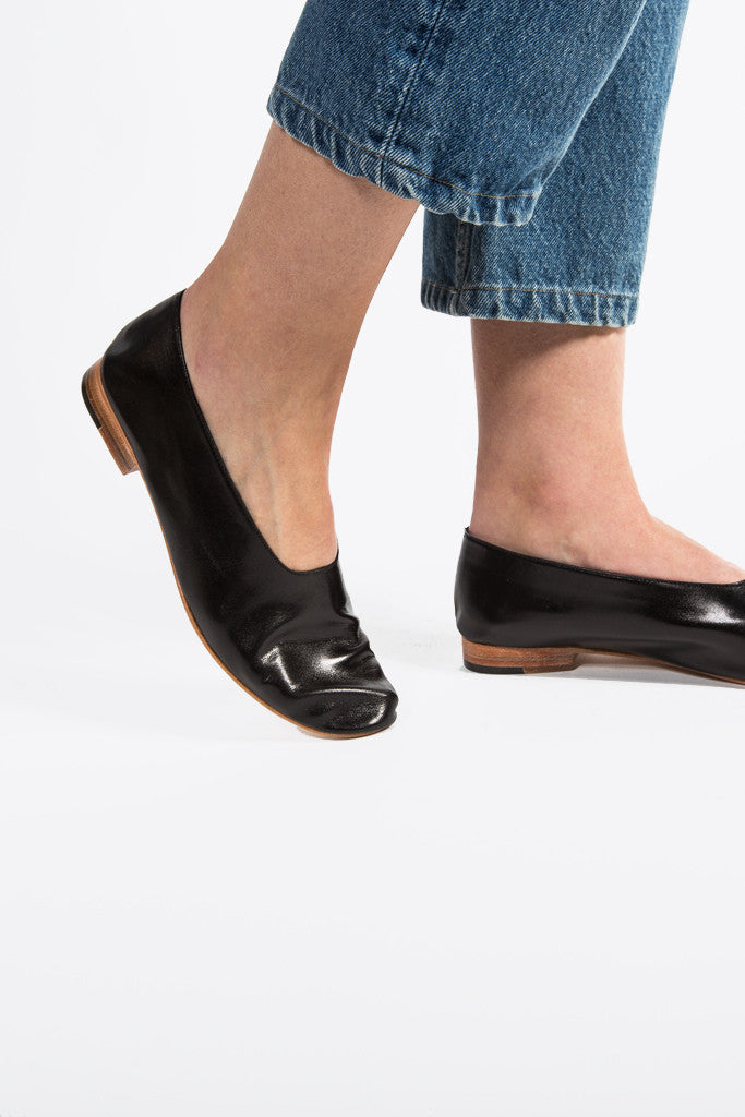 Leather Glove Flats, Black by Martiniano @ Kick Pleat - 3