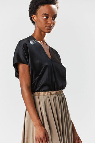 Silk Charmeuse Everyday Top, Black