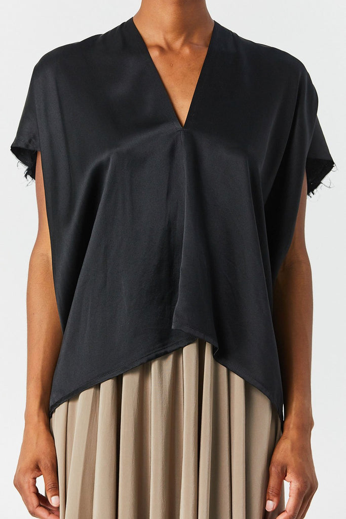 Miranda Bennett - Silk Charmeuse Everyday Top, Black