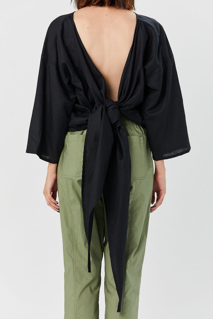 Miranda Bennett - Linen Wrap Top, Black