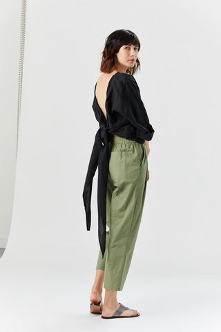 Linen Wrap Top, Black