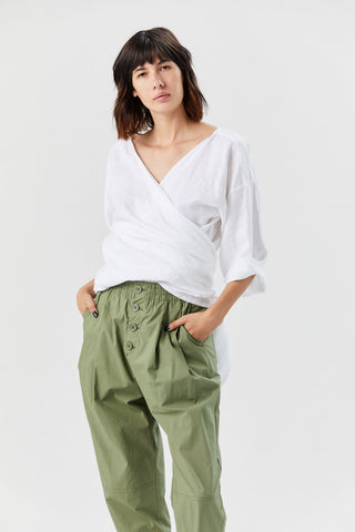 Linen Wrap Top, White
