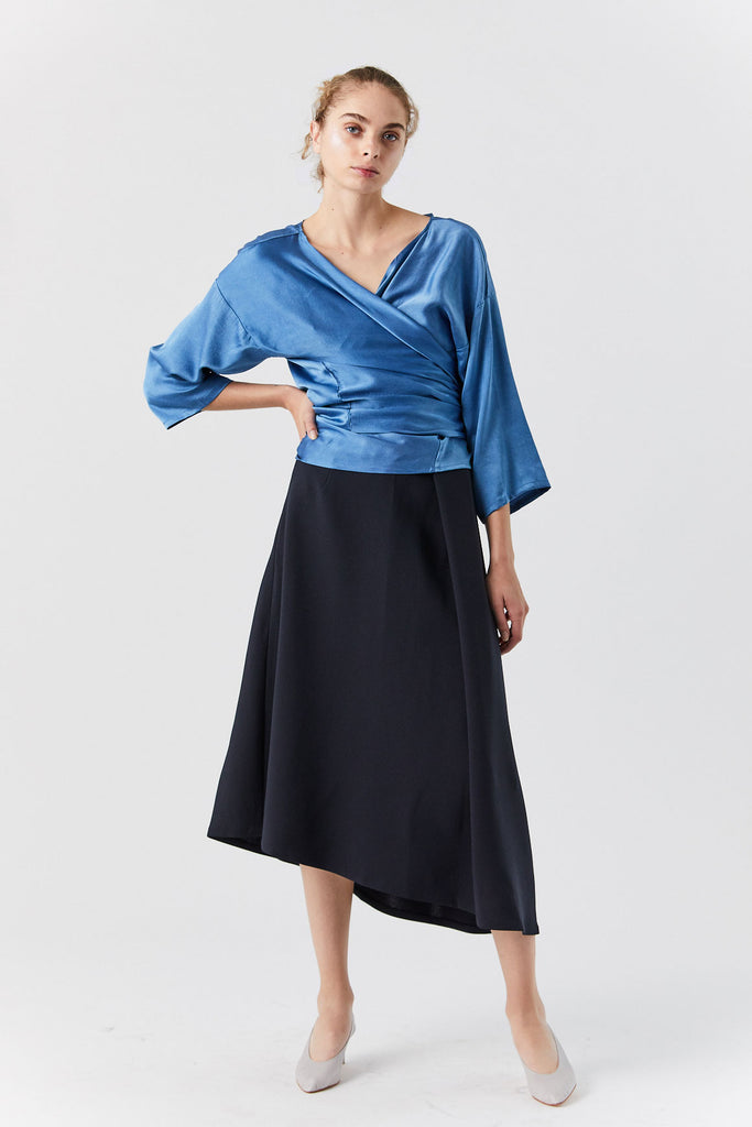 Silk Charmeuse Wrap Top, Blue