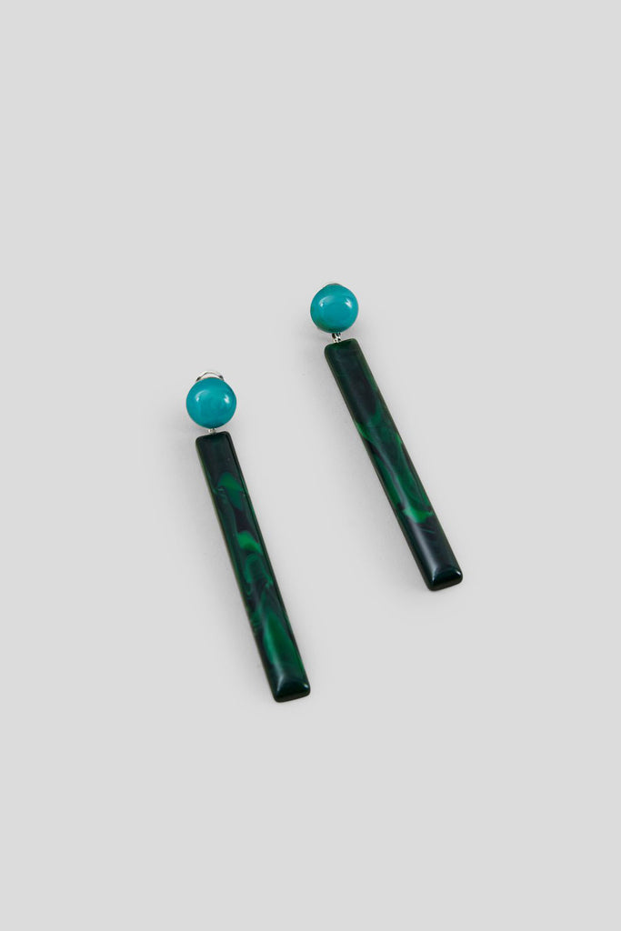 Mission Earrings, Malachite Multi Acrylic