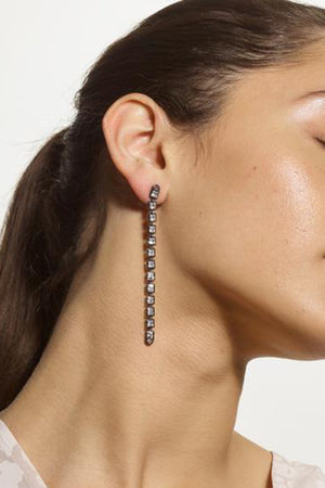 Nakard by Nak Armstrong - line earrings, white zircon