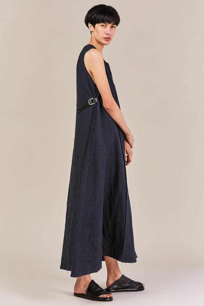 Daki Linen Dress, Navy