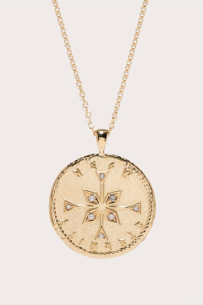 Azlee - Limited Edition NESW Compass Diamond Coin Necklace, Gold