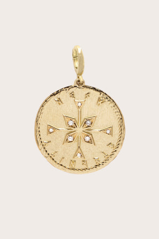 NESW Compass Diamond Coin Charm, Gold