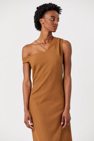 Asymmetric Off Shoulder Dress, Copper