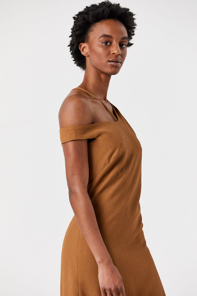 Nomia - Asymmetric Off Shoulder Dress, Copper