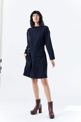 Belted Pocket Dress, Midnight