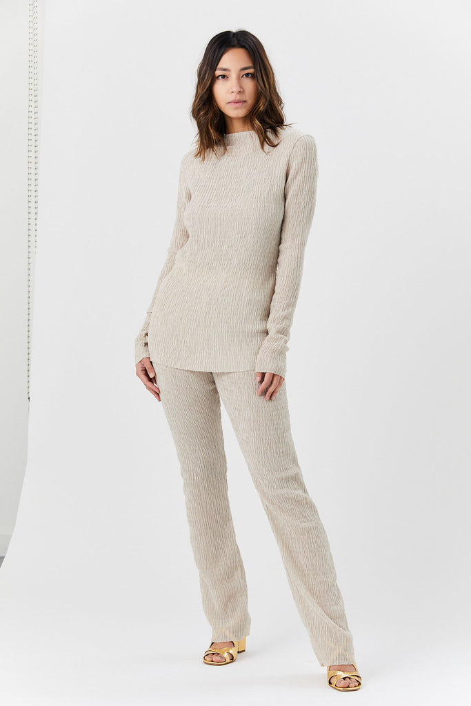 Nomia - Long Knit Pants, Wheat